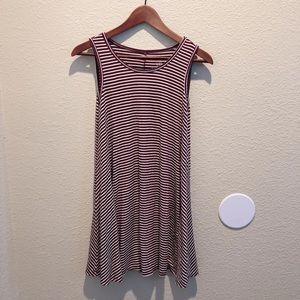 Dresses & Skirts - Maroon & White Stripe Flowy Sun Dress